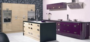 modern high gloss aubergine kitchen units